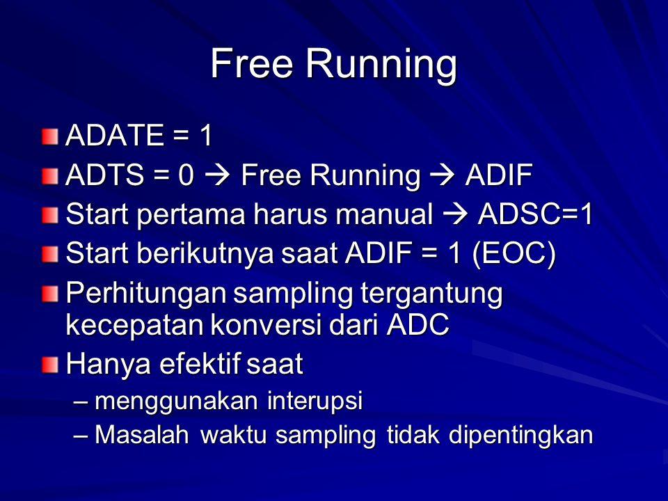 Free Running ADATE = 1 ADTS = 0  Free Running  ADIF Start pertama harus manual  ADSC=1 Start berikutnya saat ADIF = 1 (EOC) Perhitungan sampling te