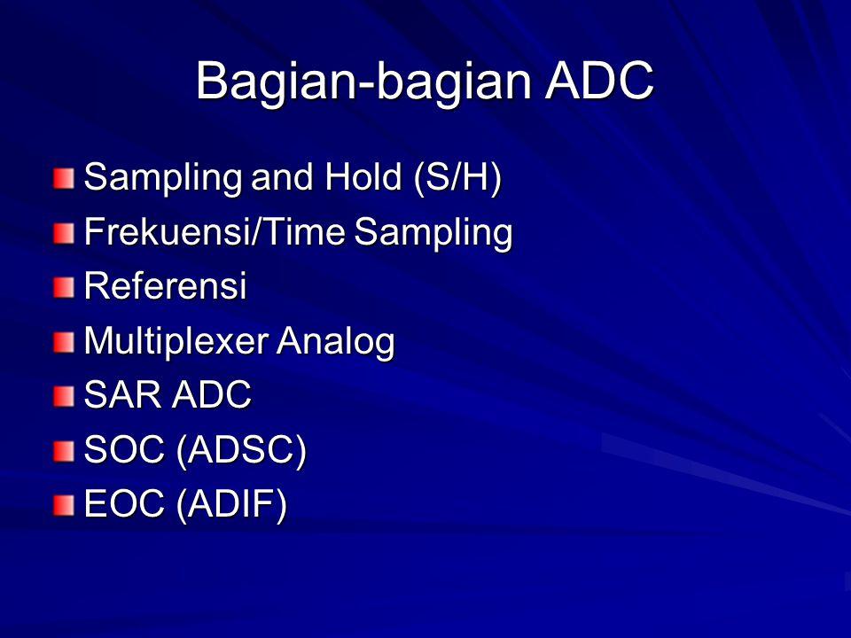 Bagian-bagian ADC Sampling and Hold (S/H) Frekuensi/Time Sampling Referensi Multiplexer Analog SAR ADC SOC (ADSC) EOC (ADIF)