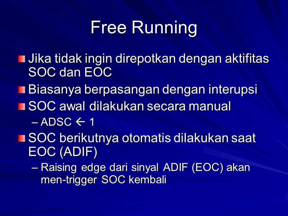 Free Running Jika tidak ingin direpotkan dengan aktifitas SOC dan EOC Biasanya berpasangan dengan interupsi SOC awal dilakukan secara manual –ADSC  1