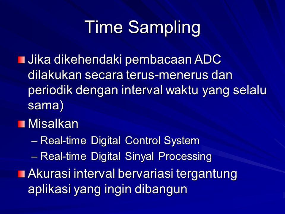 Time Sampling Jika dikehendaki pembacaan ADC dilakukan secara terus-menerus dan periodik dengan interval waktu yang selalu sama) Misalkan –Real-time D