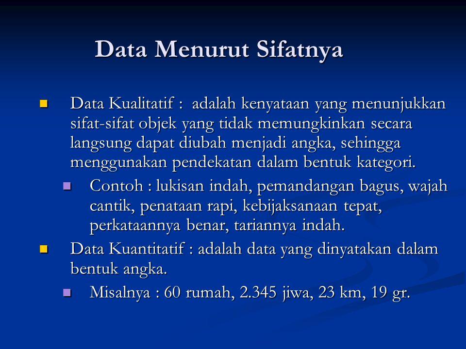 Data Menurut Sifatnya Data Kualitatif : adalah kenyataan yang menunjukkan sifat-sifat objek yang tidak memungkinkan secara langsung dapat diubah menjadi angka, sehingga menggunakan pendekatan dalam bentuk kategori.