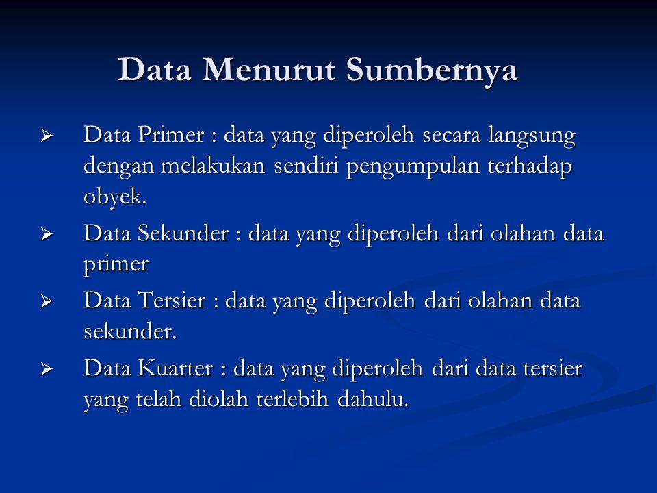 Data Menurut Sumbernya  Data Primer : data yang diperoleh secara langsung dengan melakukan sendiri pengumpulan terhadap obyek.