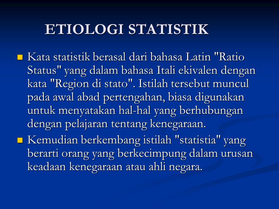ETIOLOGI STATISTIK Kata statistik berasal dari bahasa Latin Ratio Status yang dalam bahasa Itali ekivalen dengan kata Region di stato .