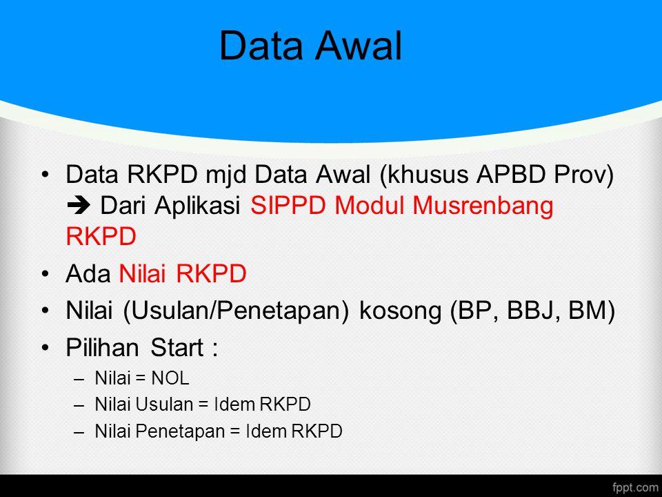 Data Awal Data RKPD mjd Data Awal (khusus APBD Prov)  Dari Aplikasi SIPPD Modul Musrenbang RKPD Ada Nilai RKPD Nilai (Usulan/Penetapan) kosong (BP, B