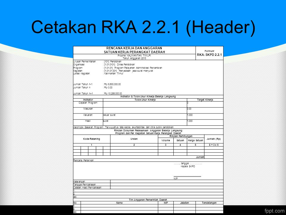 Cetakan RKA 2.2.1 (Header) www.themegallery.com RENCANA KERJA DAN ANGGARAN SATUAN KERJA PERANGKAT DAERAH Formulir RKA-SKPD 2.2.1 Propinsi KALIMANTAN T