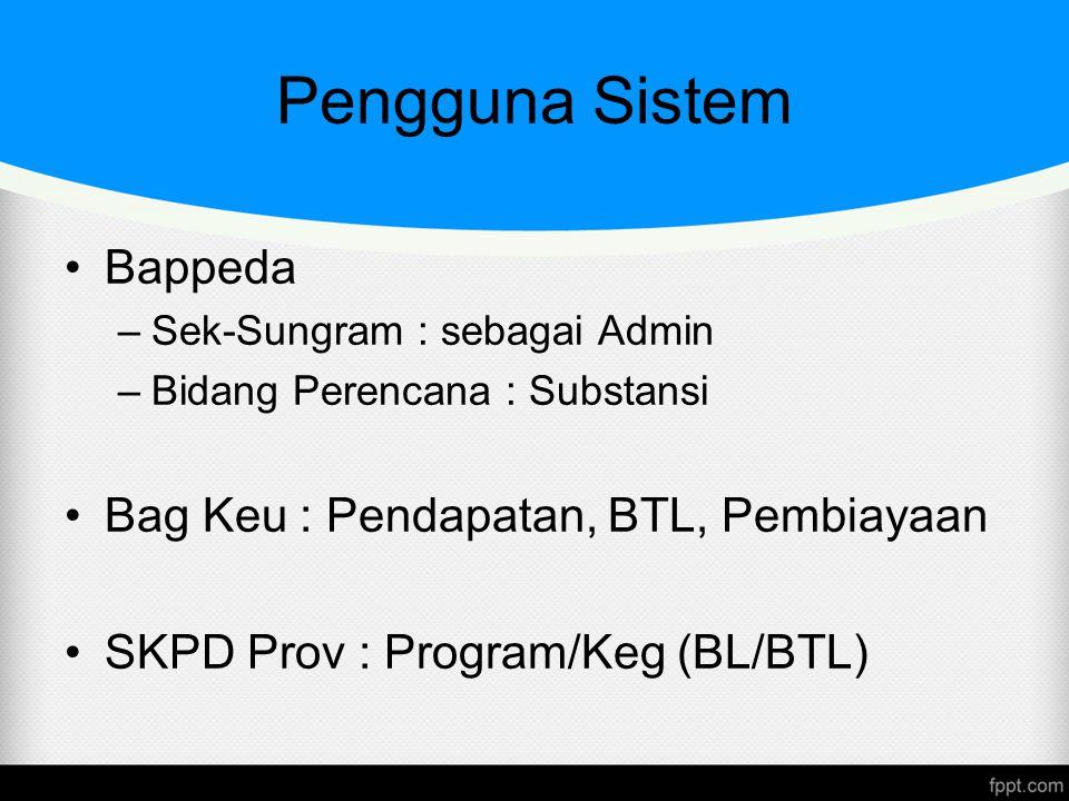 Pengguna Sistem Bappeda –Sek-Sungram : sebagai Admin –Bidang Perencana : Substansi Bag Keu : Pendapatan, BTL, Pembiayaan SKPD Prov : Program/Keg (BL/B