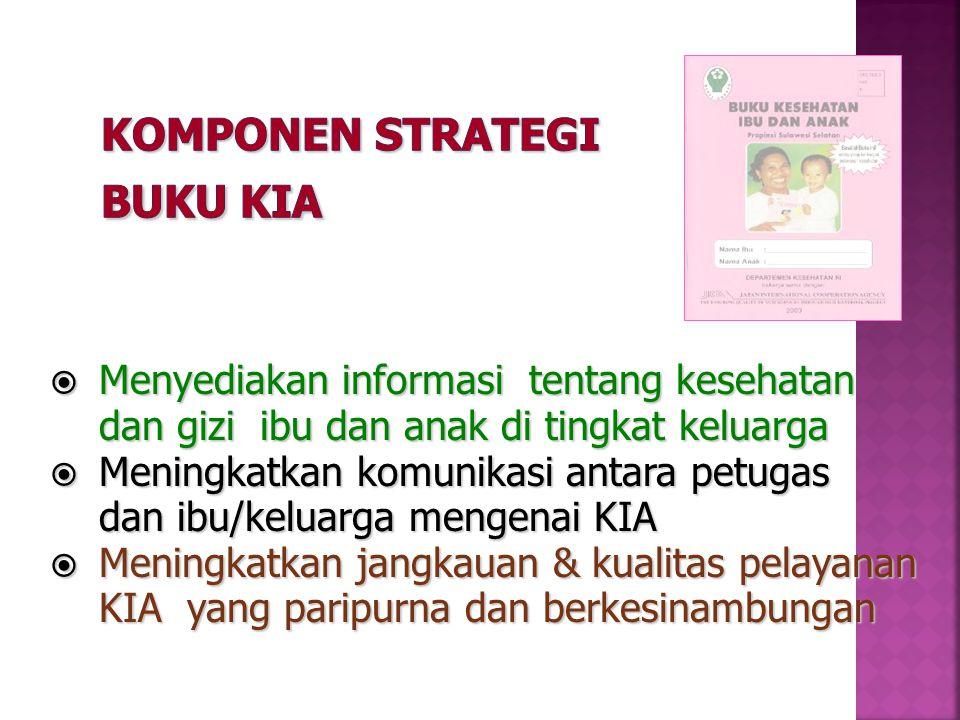  Menyediakan informasi tentang kesehatan dan gizi ibu dan anak di tingkat keluarga  Meningkatkan komunikasi antara petugas dan ibu/keluarga mengenai KIA  Meningkatkan jangkauan & kualitas pelayanan KIA yang paripurna dan berkesinambungan