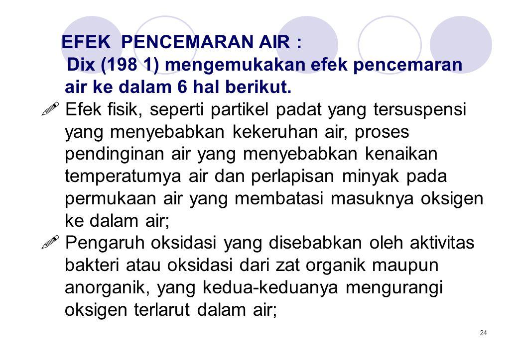 24 EFEK PENCEMARAN AIR : Dix (198 1) mengemukakan efek pencemaran air ke dalam 6 hal berikut.