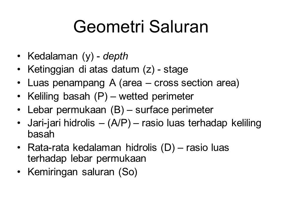 Geometri Saluran Kedalaman (y) - depth Ketinggian di atas datum (z) - stage Luas penampang A (area – cross section area) Keliling basah (P) – wetted p