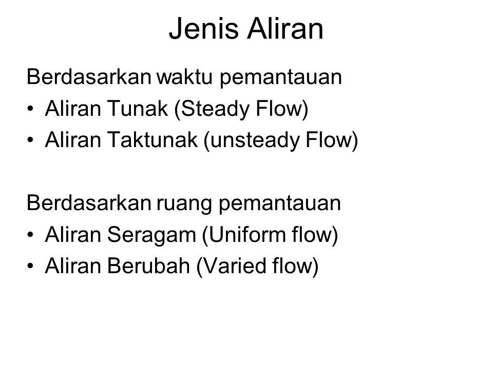 Jenis Aliran Berdasarkan waktu pemantauan Aliran Tunak (Steady Flow) Aliran Taktunak (unsteady Flow) Berdasarkan ruang pemantauan Aliran Seragam (Unif