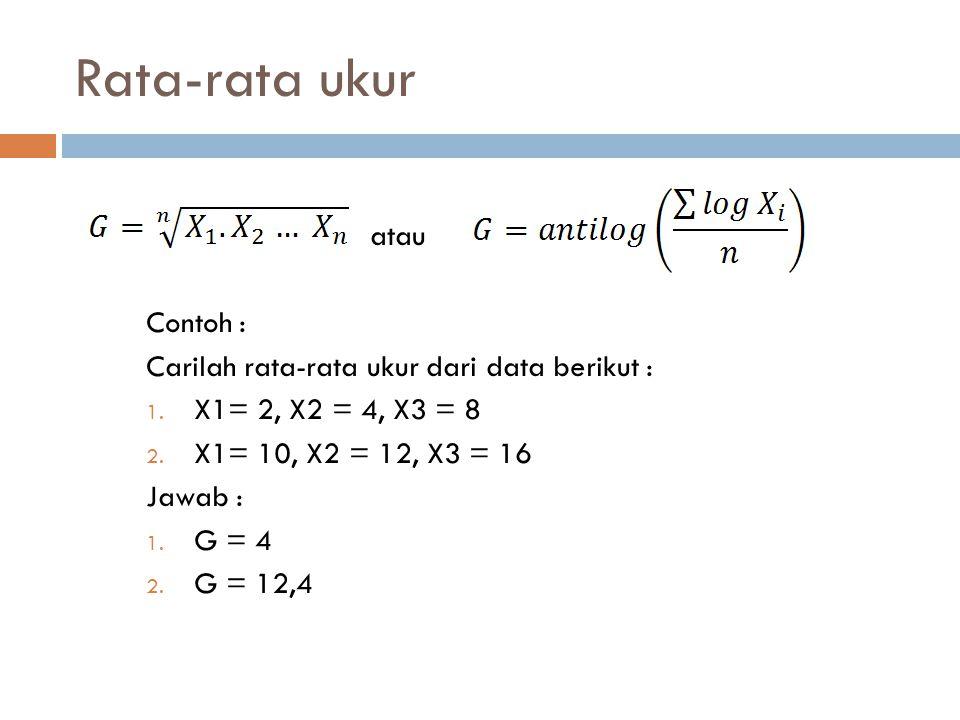 Rata-rata ukur atau Contoh : Carilah rata-rata ukur dari data berikut : 1. X1= 2, X2 = 4, X3 = 8 2. X1= 10, X2 = 12, X3 = 16 Jawab : 1. G = 4 2. G = 1