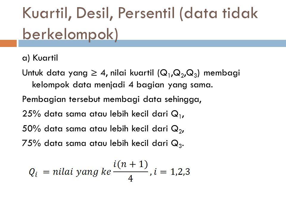 Kuartil, Desil, Persentil (data tidak berkelompok) a) Kuartil Untuk data yang ≥ 4, nilai kuartil (Q 1,Q 2,Q 3 ) membagi kelompok data menjadi 4 bagian