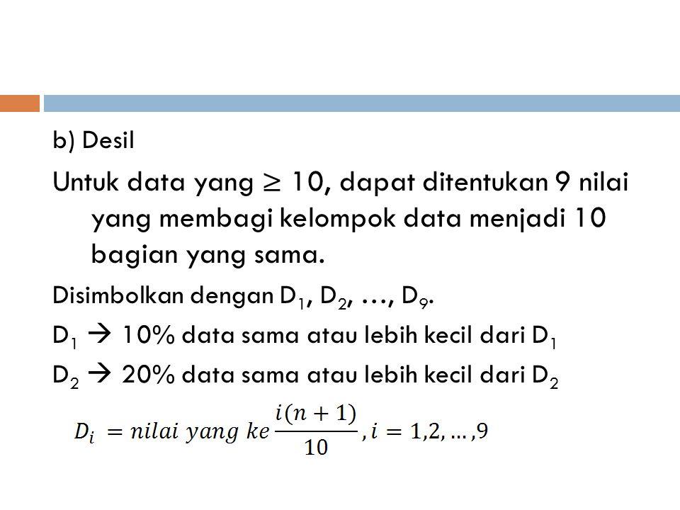b) Desil Untuk data yang ≥ 10, dapat ditentukan 9 nilai yang membagi kelompok data menjadi 10 bagian yang sama. Disimbolkan dengan D 1, D 2, …, D 9. D