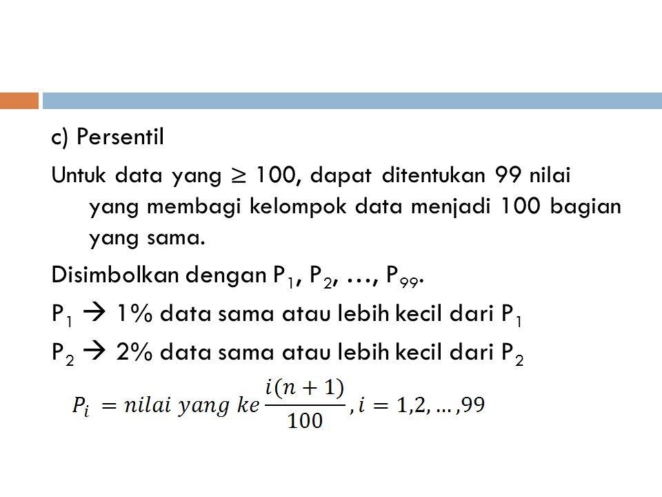 c) Persentil Untuk data yang ≥ 100, dapat ditentukan 99 nilai yang membagi kelompok data menjadi 100 bagian yang sama. Disimbolkan dengan P 1, P 2, …,