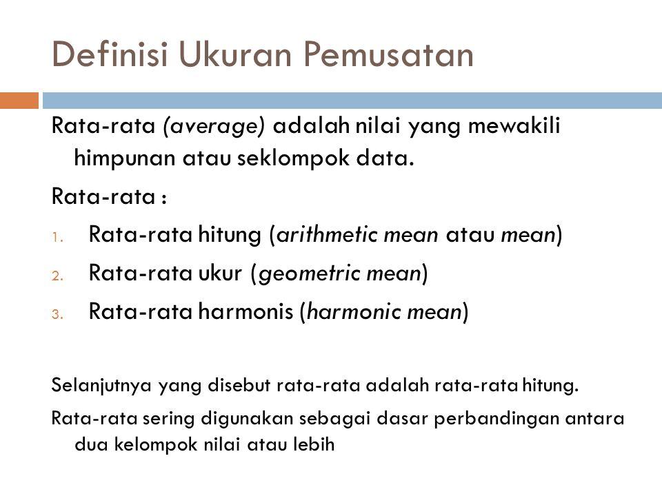Rata-rata Hitung a.Rata-rata sebenarnya (populasi) b.