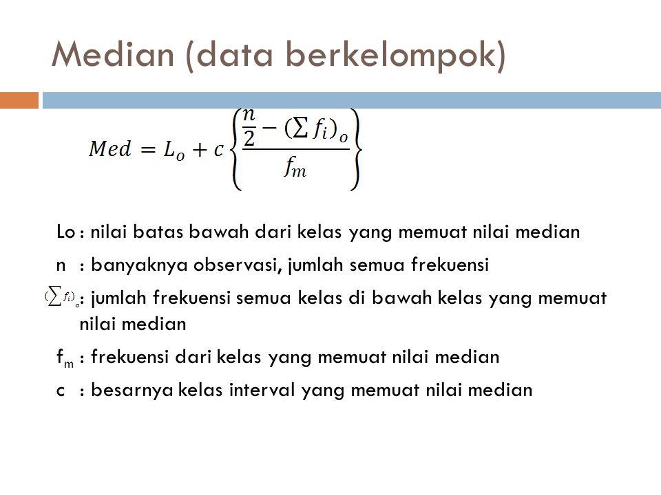 Median (data berkelompok) Lo: nilai batas bawah dari kelas yang memuat nilai median n: banyaknya observasi, jumlah semua frekuensi : jumlah frekuensi