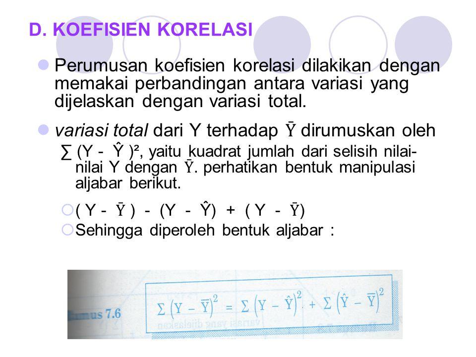 D. KOEFISIEN KORELASI Perumusan koefisien korelasi dilakikan dengan memakai perbandingan antara variasi yang dijelaskan dengan variasi total. variasi