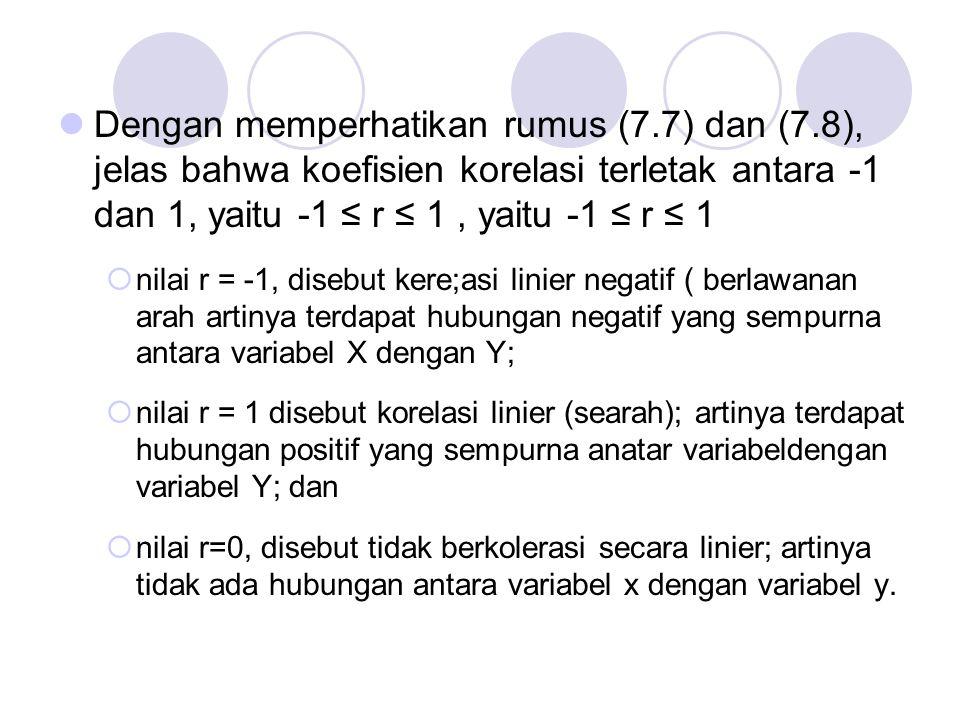Dengan memperhatikan rumus (7.7) dan (7.8), jelas bahwa koefisien korelasi terletak antara -1 dan 1, yaitu -1 ≤ r ≤ 1, yaitu -1 ≤ r ≤ 1  nilai r = -1