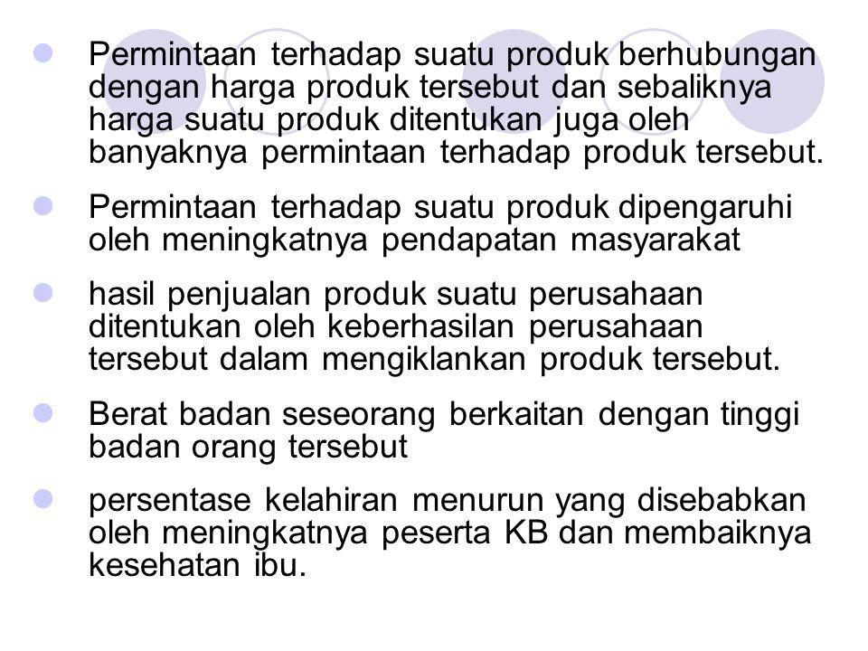 Akan tetapi, ada juga dua atau lebih kejadian yang secara nalar tidak berhubungan satu sama lain, seperti: meningkatnya jumlah penduduk tidak berhubungan dangan banyaknya turis yang datang ke Bali; banyaknya kecelakaan di jakarta tidak dipengaruhi oleh meningkatnya harga kebutuhan pokok; menurunya nilai ekspor tidak ada hubungannya dengan seringnya terjadi demonstrasi di Jakarta.