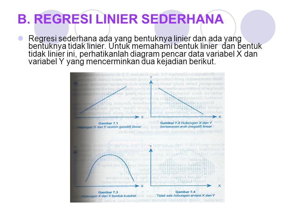 B. REGRESI LINIER SEDERHANA Regresi sederhana ada yang bentuknya linier dan ada yang bentuknya tidak linier. Untuk memahami bentuk linier dan bentuk t