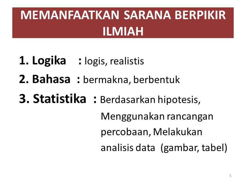 MEMANFAATKAN SARANA BERPIKIR ILMIAH 1. Logika : logis, realistis 2. Bahasa : bermakna, berbentuk 3. Statistika : Berdasarkan hipotesis, Menggunakan ra