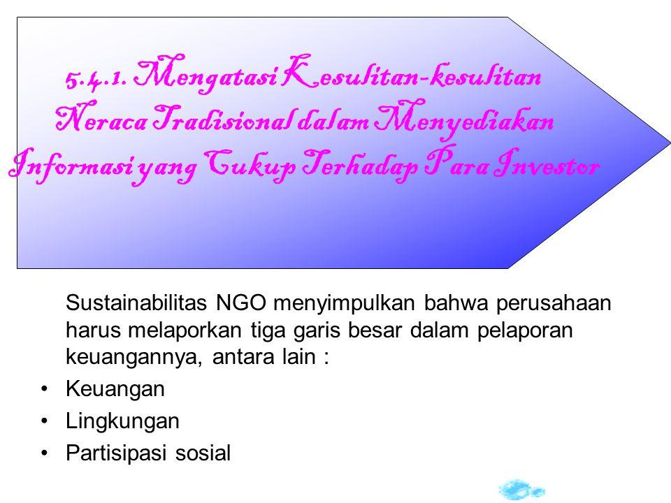 Sustainabilitas NGO menyimpulkan bahwa perusahaan harus melaporkan tiga garis besar dalam pelaporan keuangannya, antara lain : Keuangan Lingkungan Par