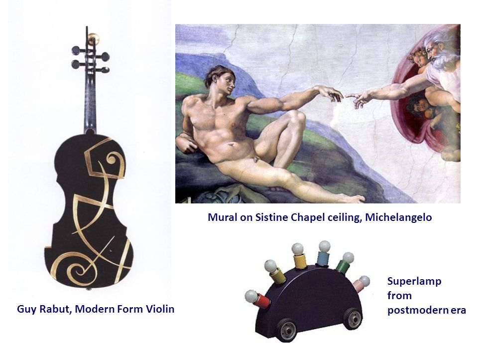 Guy Rabut, Modern Form Violin Superlamp from postmodern era Mural on Sistine Chapel ceiling, Michelangelo