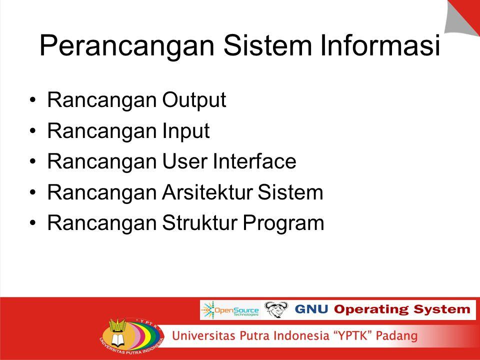 Perancangan Sistem Informasi Rancangan Output Rancangan Input Rancangan User Interface Rancangan Arsitektur Sistem Rancangan Struktur Program