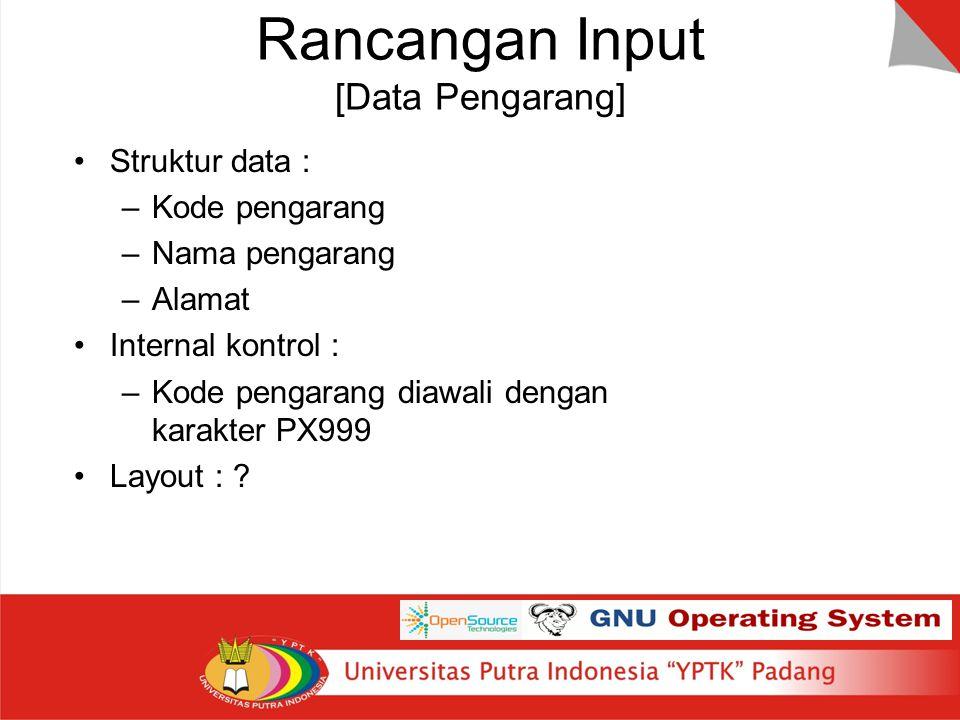 Rancangan Input [Data Pengarang] Struktur data : –Kode pengarang –Nama pengarang –Alamat Internal kontrol : –Kode pengarang diawali dengan karakter PX