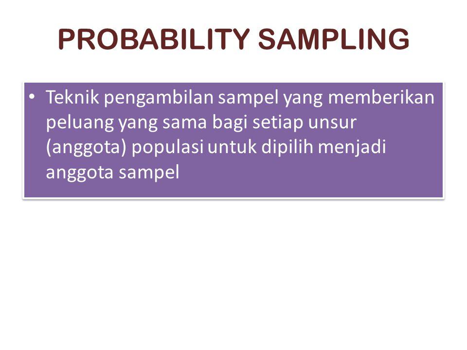 PROBABILITY SAMPLING Teknik pengambilan sampel yang memberikan peluang yang sama bagi setiap unsur (anggota) populasi untuk dipilih menjadi anggota sampel