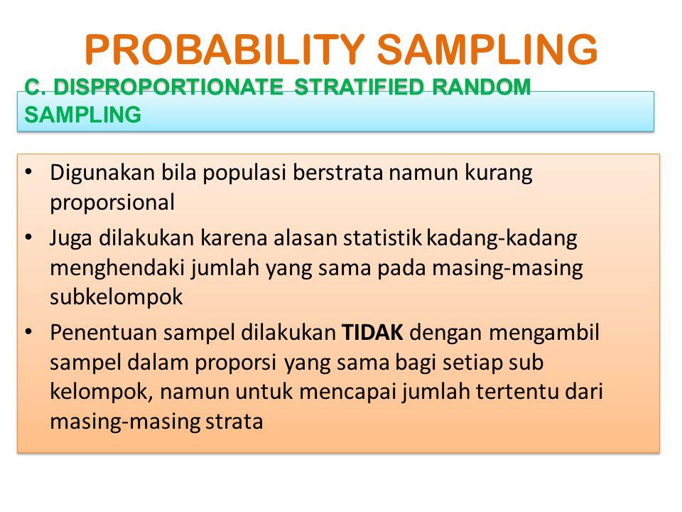D. CLUSTER SAMPLING (AREA SAMPLING) PROBABILITY SAMPLING