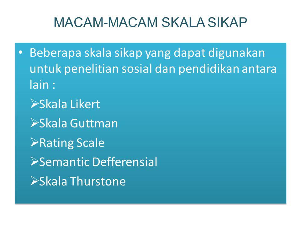 Beberapa skala sikap yang dapat digunakan untuk penelitian sosial dan pendidikan antara lain :  Skala Likert  Skala Guttman  Rating Scale  Semantic Defferensial  Skala Thurstone Beberapa skala sikap yang dapat digunakan untuk penelitian sosial dan pendidikan antara lain :  Skala Likert  Skala Guttman  Rating Scale  Semantic Defferensial  Skala Thurstone MACAM-MACAM SKALA SIKAP
