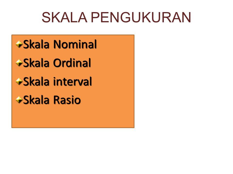 SKALA PENGUKURAN Skala Nominal Skala Ordinal Skala interval Skala Rasio