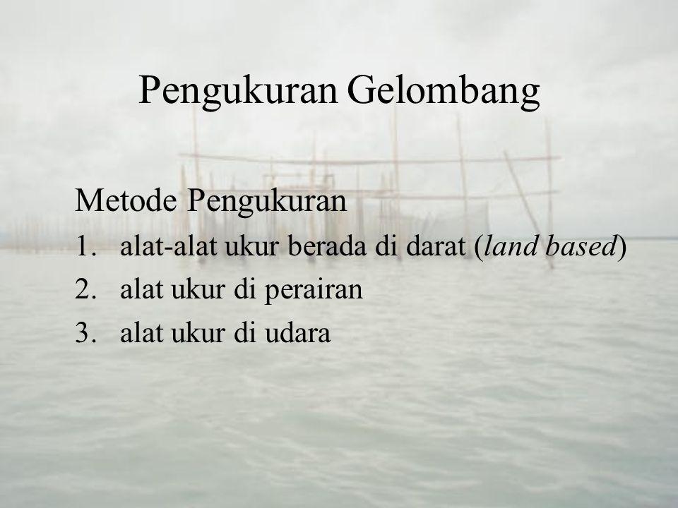 Pengukuran Gelombang Metode Pengukuran 1.alat-alat ukur berada di darat (land based) 2.alat ukur di perairan 3.alat ukur di udara