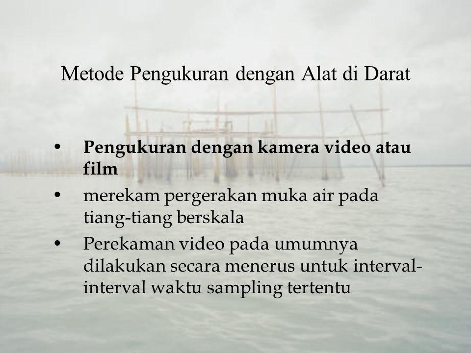 Metode Pengukuran dengan Alat di Darat Pengukuran dengan kamera video atau film merekam pergerakan muka air pada tiang-tiang berskala Perekaman video pada umumnya dilakukan secara menerus untuk interval- interval waktu sampling tertentu