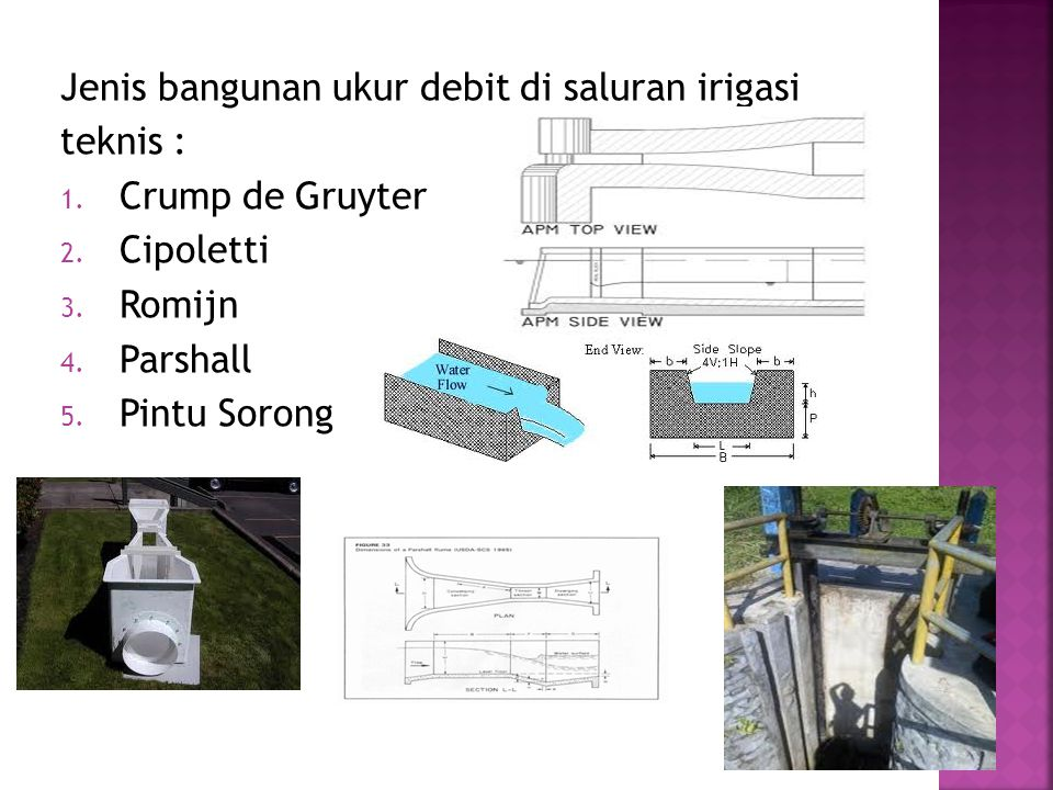 Jenis bangunan ukur debit di saluran irigasi teknis : 1.
