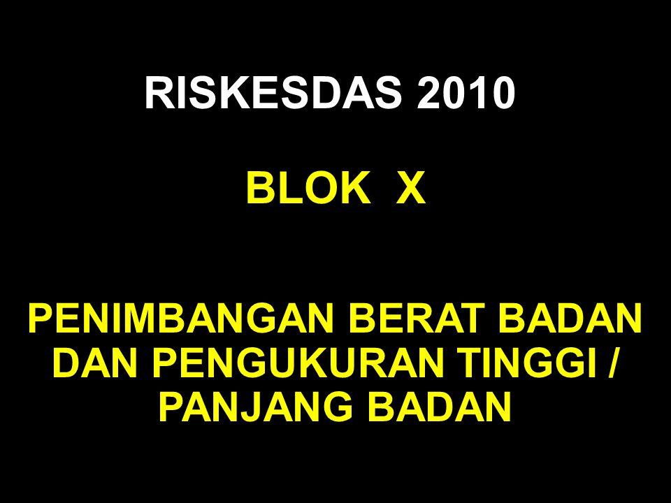 BLOK X RISKESDAS 2010 PENIMBANGAN BERAT BADAN DAN PENGUKURAN TINGGI / PANJANG BADAN