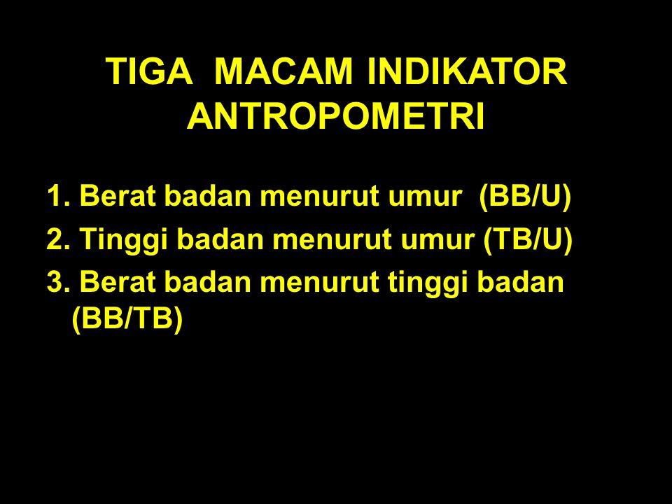TIGA MACAM INDIKATOR ANTROPOMETRI 1. Berat badan menurut umur (BB/U) 2. Tinggi badan menurut umur (TB/U) 3. Berat badan menurut tinggi badan (BB/TB)