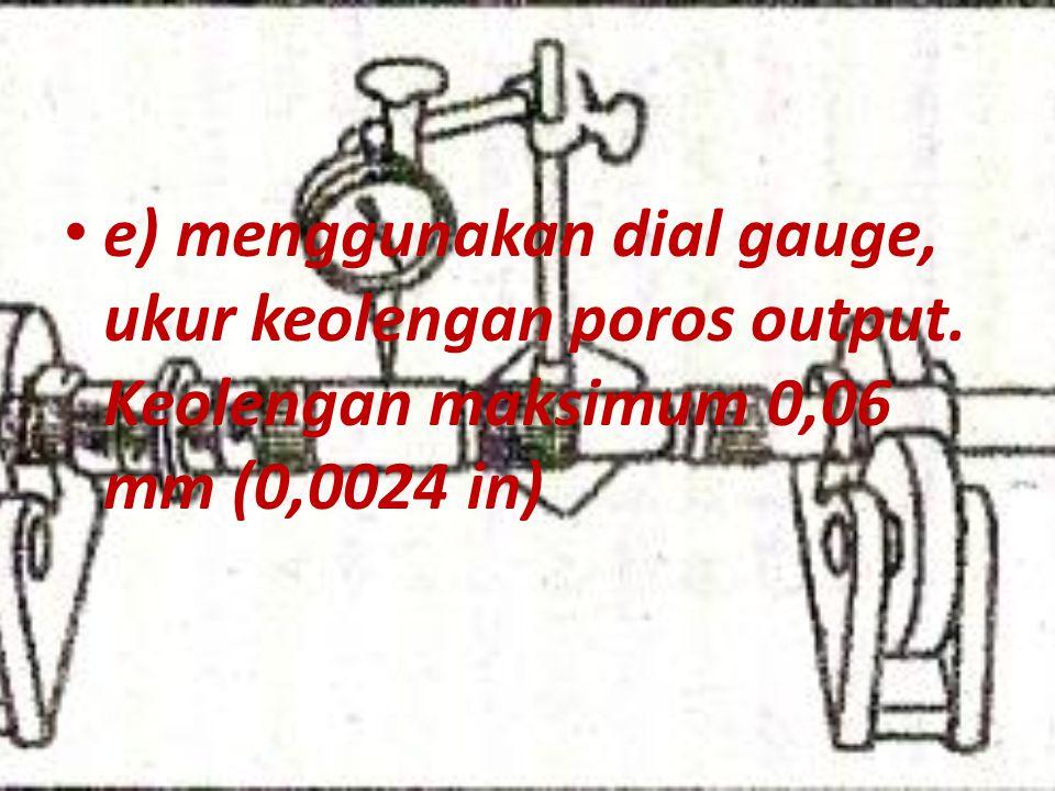 e) menggunakan dial gauge, ukur keolengan poros output. Keolengan maksimum 0,06 mm (0,0024 in)