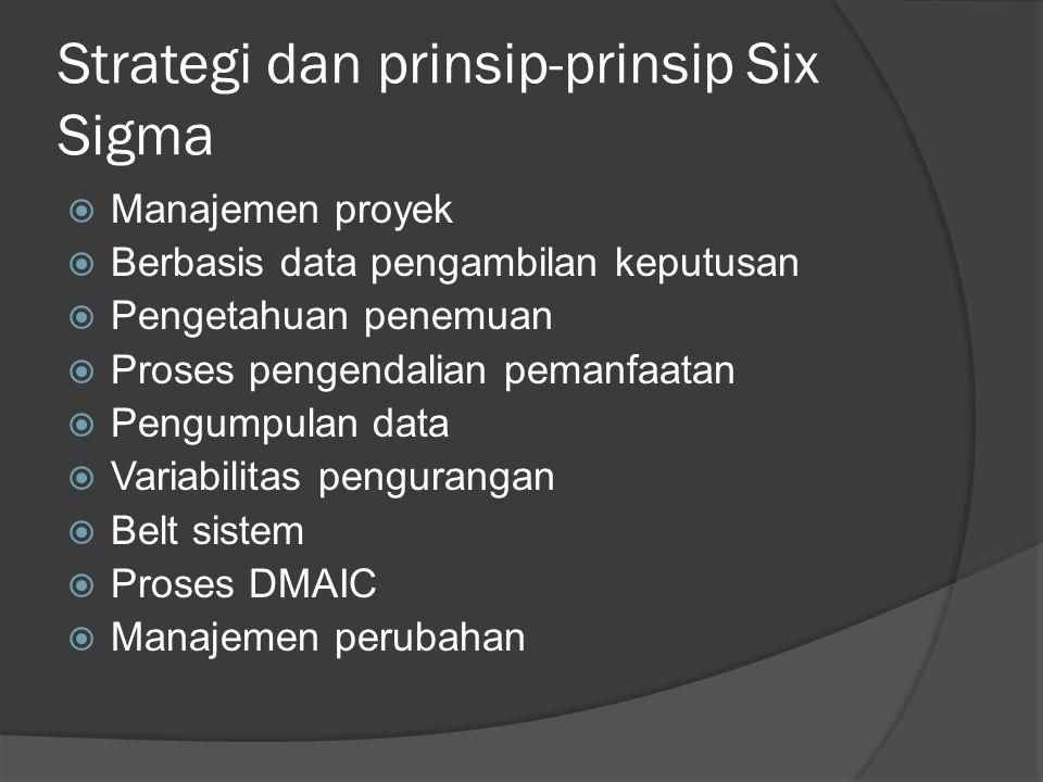 Strategi dan prinsip-prinsip Six Sigma  Manajemen proyek  Berbasis data pengambilan keputusan  Pengetahuan penemuan  Proses pengendalian pemanfaatan  Pengumpulan data  Variabilitas pengurangan  Belt sistem  Proses DMAIC  Manajemen perubahan
