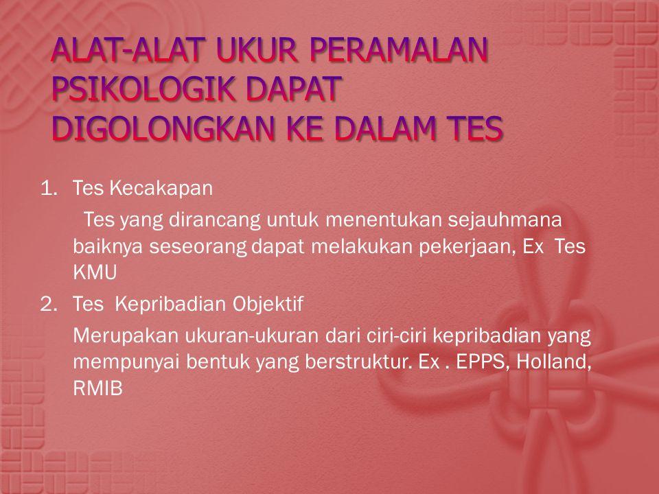 1.Tes Kecakapan Tes yang dirancang untuk menentukan sejauhmana baiknya seseorang dapat melakukan pekerjaan, Ex Tes KMU 2. Tes Kepribadian Objektif Mer