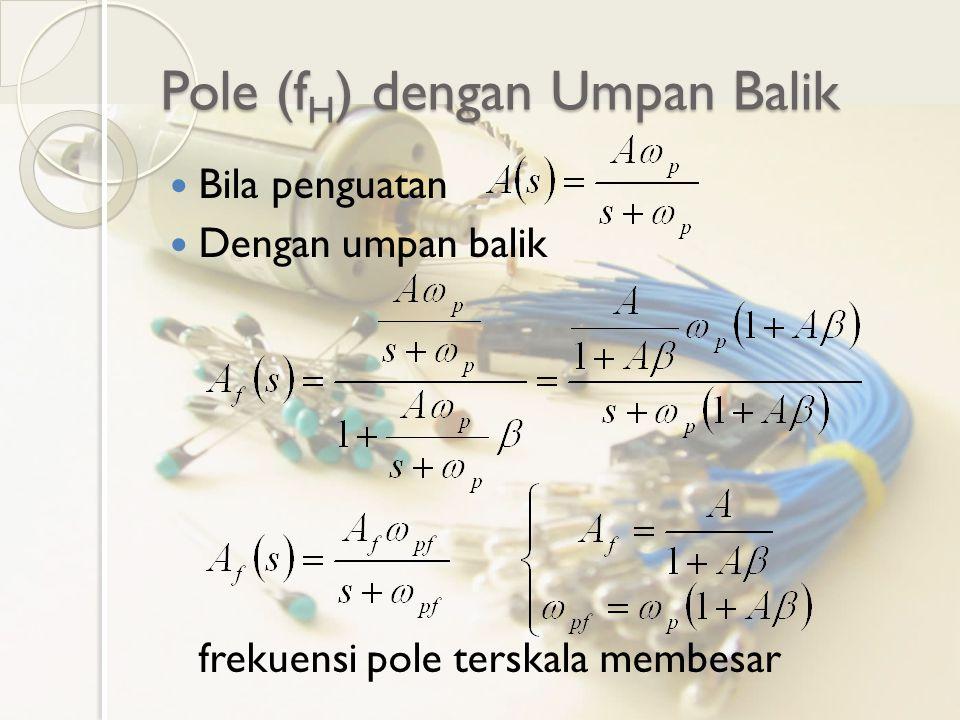 Pole (f H ) dengan Umpan Balik Bila penguatan Dengan umpan balik frekuensi pole terskala membesar