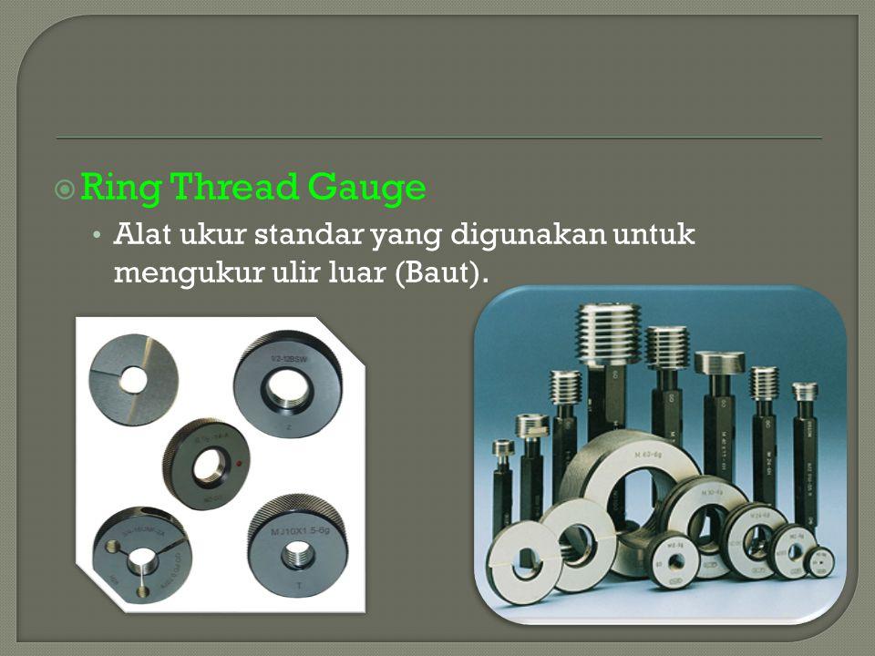  Ring Thread Gauge Alat ukur standar yang digunakan untuk mengukur ulir luar (Baut).