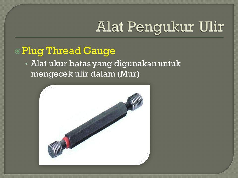  Plug Thread Gauge Alat ukur batas yang digunakan untuk mengecek ulir dalam (Mur)