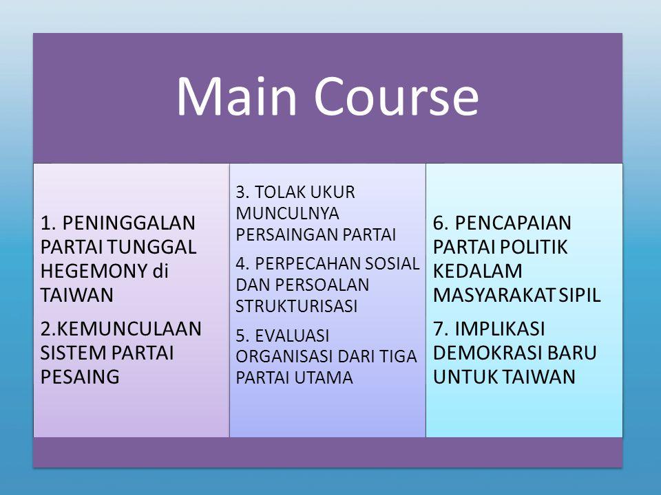 Main Course 1. PENINGGALAN PARTAI TUNGGAL HEGEMONY di TAIWAN 2.KEMUNCULAAN SISTEM PARTAI PESAING 3. TOLAK UKUR MUNCULNYA PERSAINGAN PARTAI 4. PERPECAH