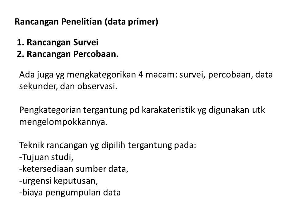 Jika menggunakan data primer, research design harus mencakup: 1.