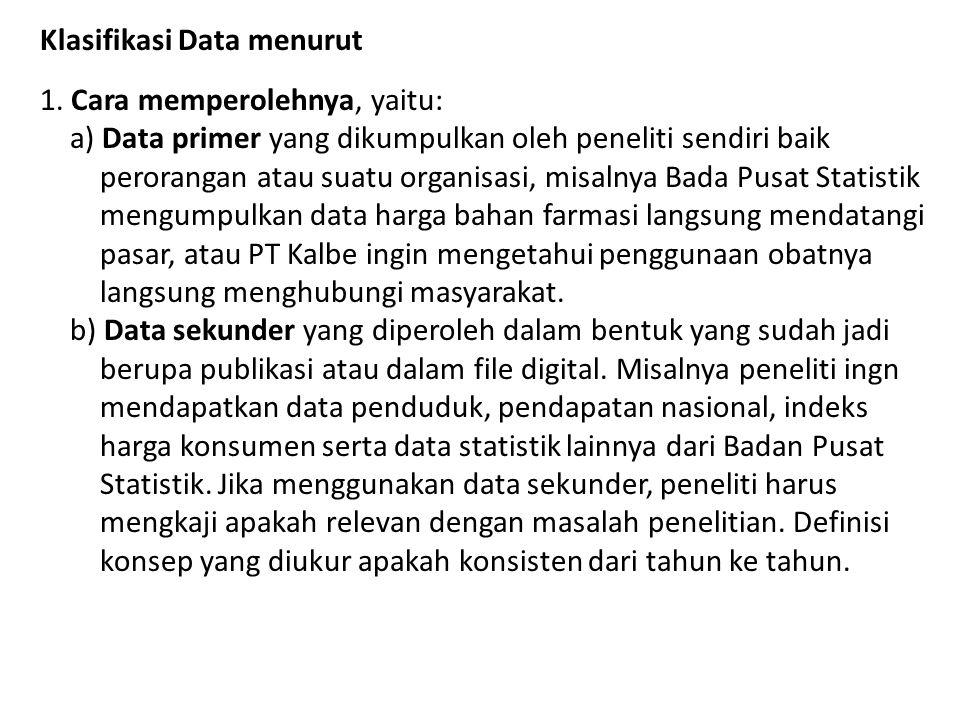 Klasifikasi Data menurut 1. Cara memperolehnya, yaitu: a) Data primer yang dikumpulkan oleh peneliti sendiri baik perorangan atau suatu organisasi, mi