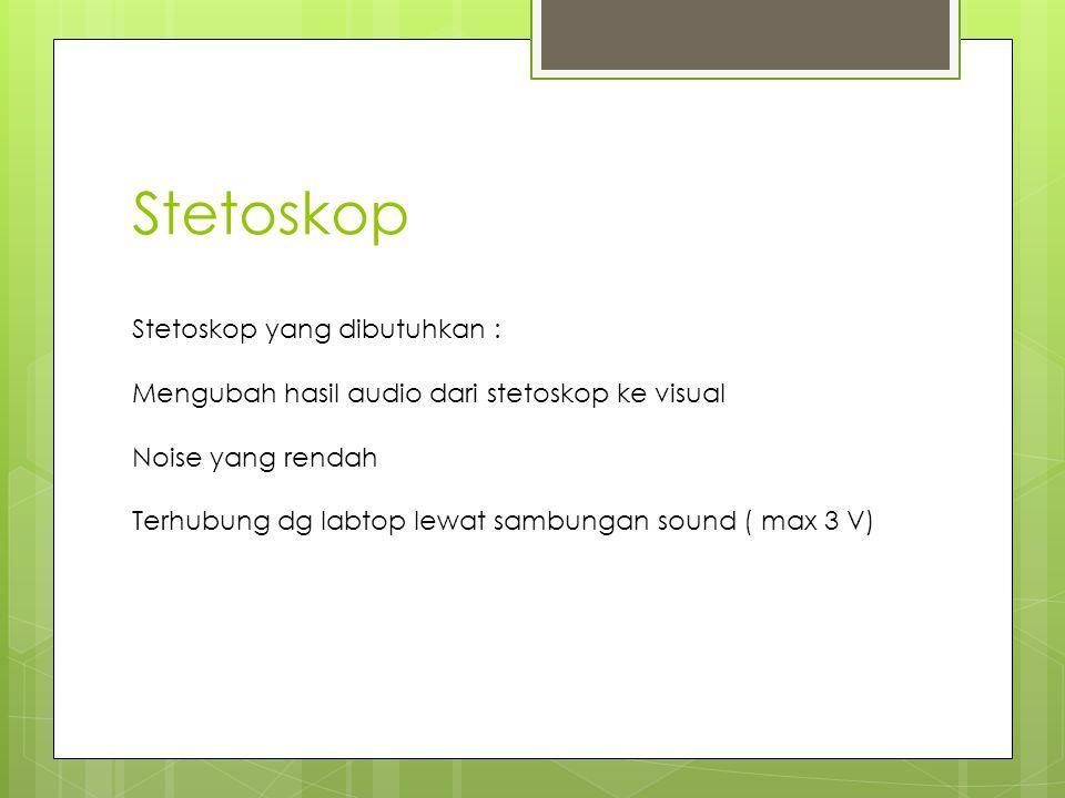 Stetoskop yang dibutuhkan : Mengubah hasil audio dari stetoskop ke visual Noise yang rendah Terhubung dg labtop lewat sambungan sound ( max 3 V)