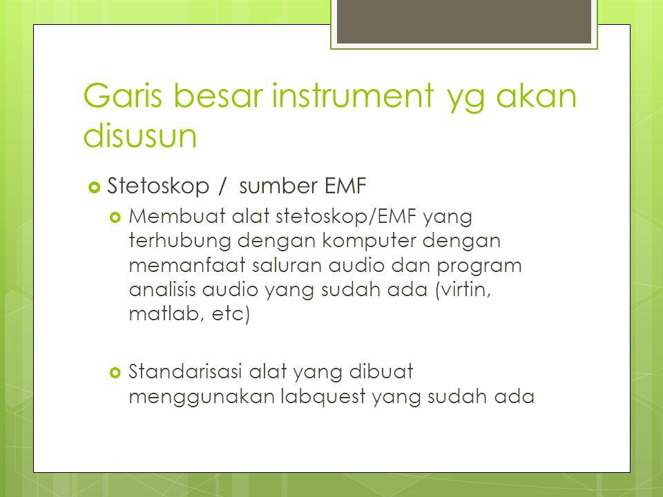 Garis besar instrument yg akan disusun  Stetoskop / sumber EMF  Membuat alat stetoskop/EMF yang terhubung dengan komputer dengan memanfaat saluran a