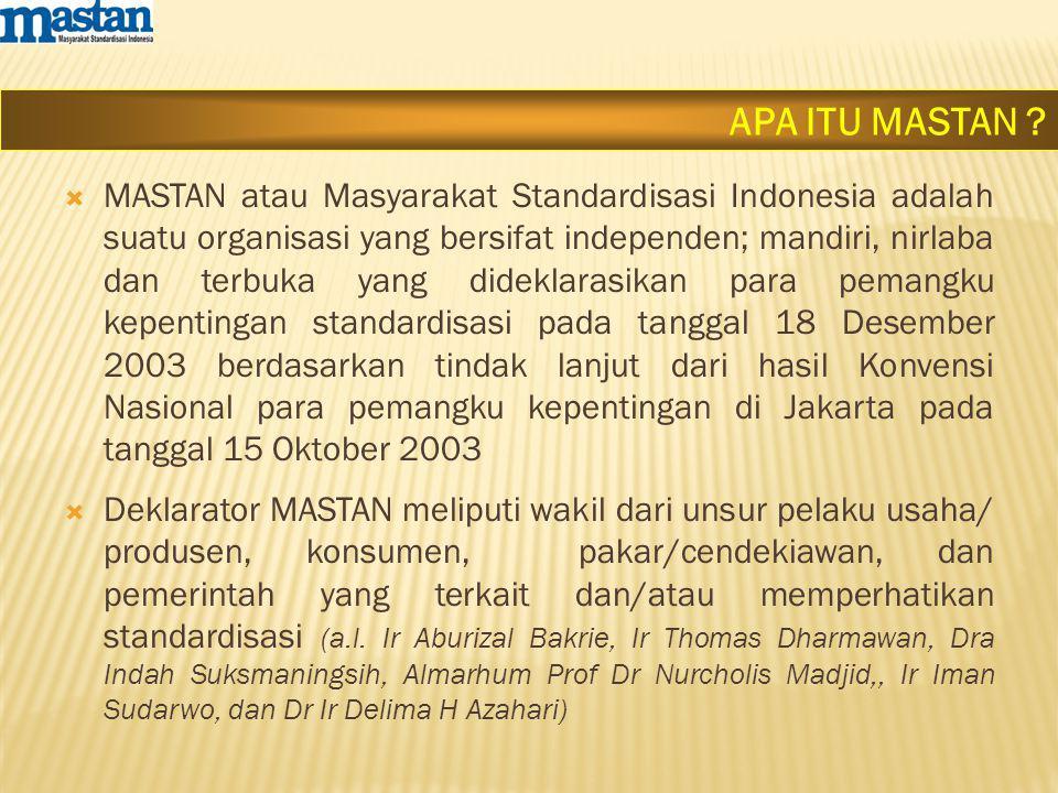  MASTAN atau Masyarakat Standardisasi Indonesia adalah suatu organisasi yang bersifat independen; mandiri, nirlaba dan terbuka yang dideklarasikan para pemangku kepentingan standardisasi pada tanggal 18 Desember 2003 berdasarkan tindak lanjut dari hasil Konvensi Nasional para pemangku kepentingan di Jakarta pada tanggal 15 Oktober 2003  Deklarator MASTAN meliputi wakil dari unsur pelaku usaha/ produsen, konsumen, pakar/cendekiawan, dan pemerintah yang terkait dan/atau memperhatikan standardisasi (a.l.